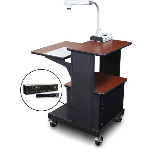 Marvel Vizion Benchmark Mobile Presentation Cart with Acrylic Door and AmpliVox Handheld Microphone (Cherry Laminate)