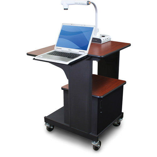 Marvel Vizion Benchmark Mobile Presentation Cart with Acrylic Door and Laptop Shelf (Cherry Laminate)
