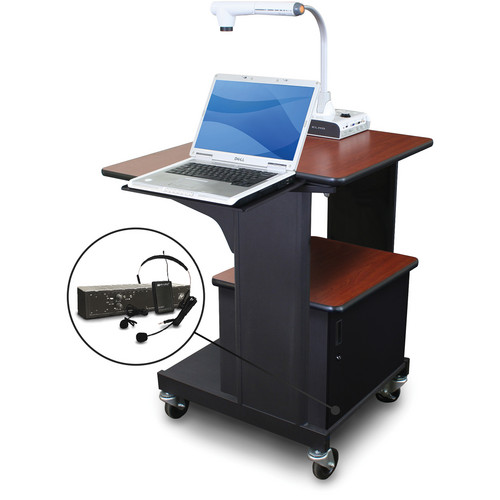 Marvel Vizion Benchmark Mobile Presentation Cart with Acrylic Door, Laptop Shelf, and AmpliVox Headset Microphone (Cherry Laminate)