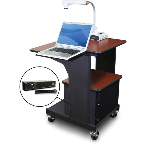 Marvel Vizion Benchmark Mobile Presentation Cart with Acrylic Door, Laptop Shelf, and AmpliVox Handheld Microphone (Cherry Laminate)