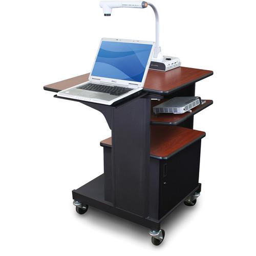 Marvel Vizion Benchmark Mobile Presentation Cart with Acrylic Door, Laptop Shelf, and Tilting Shelf (Cherry Laminate)