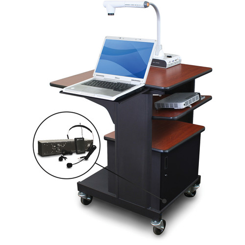 Marvel Vizion Benchmark Mobile Presentation Cart with Acrylic Door, Laptop & Tilting Shelves, and AmpliVox Headset Microphone (Cherry Laminate)