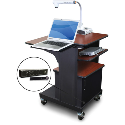 Marvel Vizion Benchmark Mobile Presentation Cart with Acrylic Door, Laptop & Tilting Shelves, and AmpliVox Handheld Microphone (Cherry Laminate)