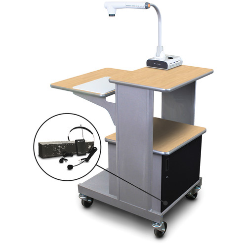 Marvel Vizion Benchmark Mobile Presentation Cart with Acrylic Door and AmpliVox Headset Microphone (Kensington Maple Laminate)