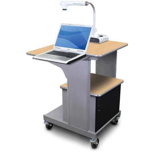 Marvel Vizion Benchmark Mobile Presentation Cart with Acrylic Door and Laptop Shelf (Kensington Maple Laminate)