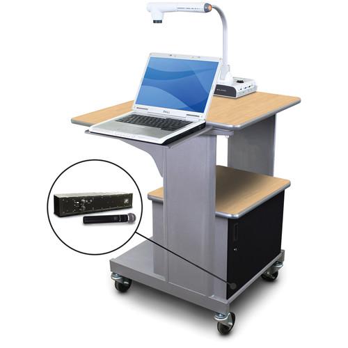 Marvel Vizion Benchmark Mobile Presentation Cart with Acrylic Door, Laptop Shelf, and AmpliVox Handheld Microphone (Kensington Maple Laminate)