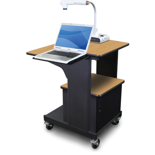 Marvel Vizion Benchmark Mobile Presentation Cart with Acrylic Door and Laptop Shelf (Oak Laminate)