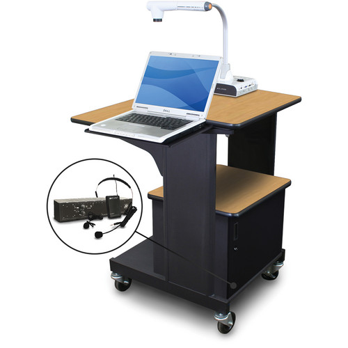 Marvel Vizion Benchmark Mobile Presentation Cart with Acrylic Door, Laptop Shelf, and AmpliVox Headset Microphone (Oak Laminate)