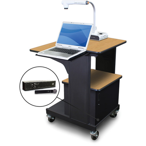 Marvel Vizion Benchmark Mobile Presentation Cart with Acrylic Door, Laptop Shelf, and AmpliVox Handheld Microphone (Oak Laminate)