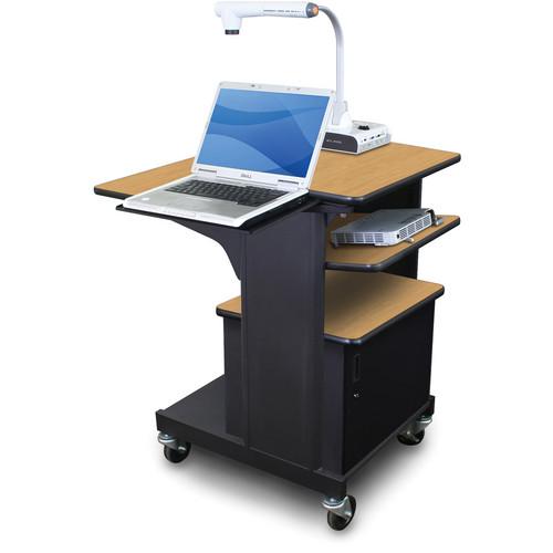 Marvel Vizion Benchmark Mobile Presentation Cart with Acrylic Door, Laptop Shelf, and Tilting Shelf (Oak Laminate)