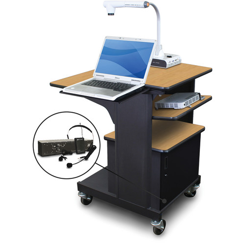 Marvel Vizion Benchmark Mobile Presentation Cart with Acrylic Door, Laptop & Tilting Shelves, and AmpliVox Headset Microphone (Oak Laminate)