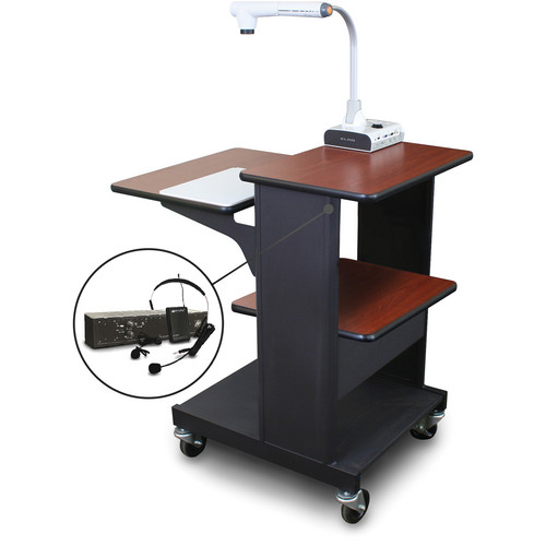Marvel Vizion Benchmark Mobile Presentation Cart with AmpliVox Headset Microphone (Cherry Laminate)