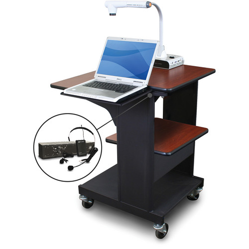 Marvel Vizion Benchmark Mobile Presentation Cart with Laptop Shelf and AmpliVox Headset Microphone (Cherry Laminate)