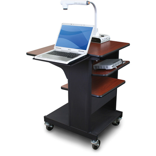 Marvel Vizion Benchmark Mobile Presentation Cart with Laptop Shelf and Tilting Shelf (Cherry Laminate)
