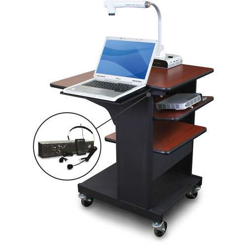 Marvel Vizion Benchmark Mobile Presentation Cart with Laptop Shelf, Tilting Shelf, and AmpliVox Headset Microphone (Cherry Laminate)