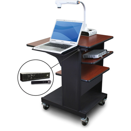 Marvel Vizion Benchmark Mobile Presentation Cart with Laptop Shelf, Tilting Shelf, and AmpliVox Handheld Microphone (Cherry Laminate)
