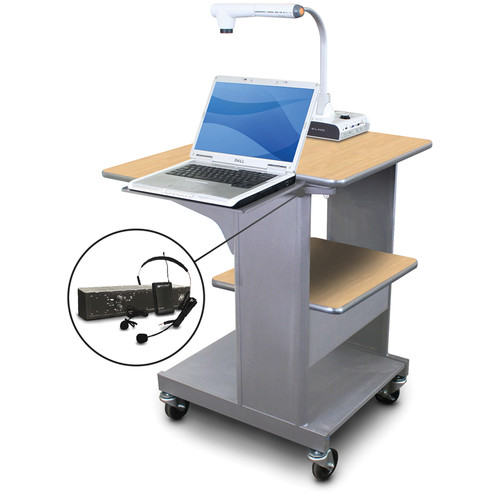 Marvel Vizion Benchmark Mobile Presentation Cart with Laptop Shelf and AmpliVox Headset Microphone (Kensington Maple Laminate)
