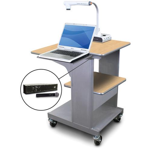 Marvel Vizion Benchmark Mobile Presentation Cart with Laptop Shelf and AmpliVox Handheld Microphone (Kensington Maple Laminate)