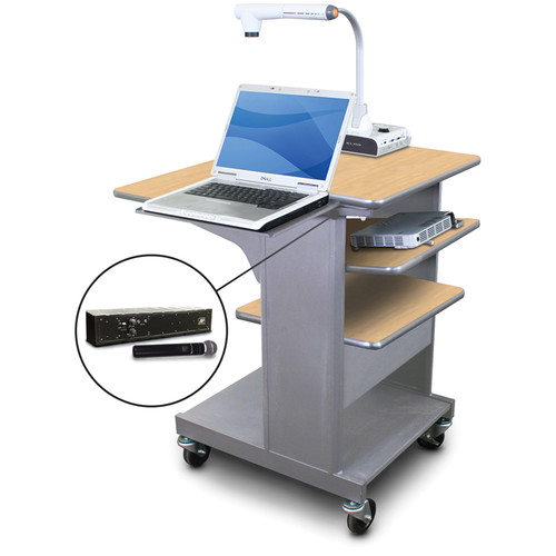 Marvel Vizion Benchmark Mobile Presentation Cart with Laptop Shelf, Tilting Shelf, and AmpliVox Handheld Microphone (Kensington Maple Laminate)