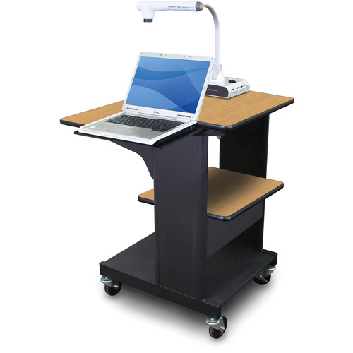 Marvel Vizion Benchmark Mobile Presentation Cart with Laptop Shelf (Oak Laminate)