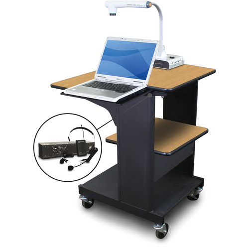 Marvel Vizion Benchmark Mobile Presentation Cart with Laptop Shelf and AmpliVox Headset Microphone (Oak Laminate)