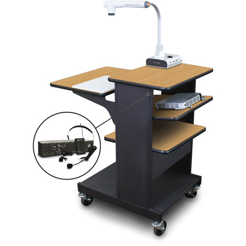 Marvel Vizion Benchmark Mobile Presentation Cart with Tilting Shelf and AmpliVox Headset Microphone (Oak Laminate)