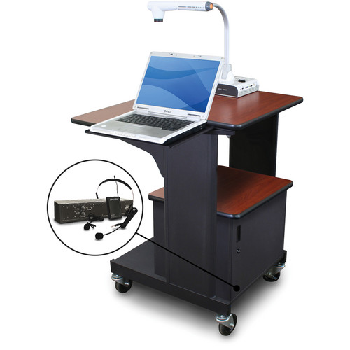 Marvel Vizion Benchmark Mobile Presentation Cart with Steel Door, Laptop Shelf, and AmpliVox Headset Microphone (Cherry Laminate)