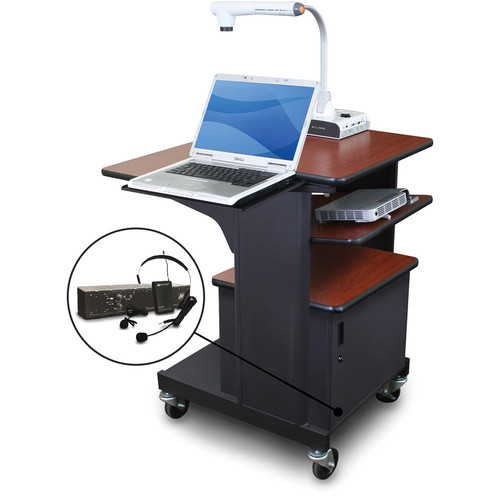 Marvel Vizion Benchmark Mobile Presentation Cart with Steel Door, Laptop & Tilting Shelves, and AmpliVox Headset Microphone (Cherry Laminate)