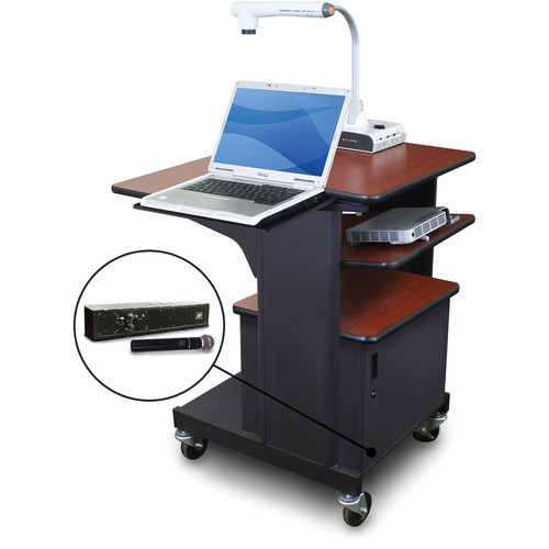 Marvel Vizion Benchmark Mobile Presentation Cart with Steel Door, Laptop & Tilting Shelves, and AmpliVox Handheld Microphone (Cherry Laminate)