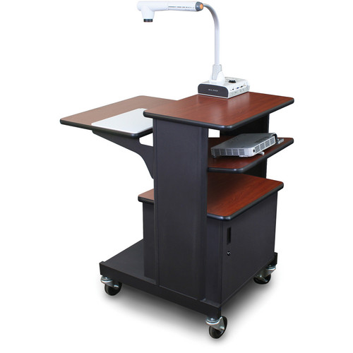 Marvel Vizion Benchmark Mobile Presentation Cart with Steel Door and Tilting Shelf (Cherry Laminate)