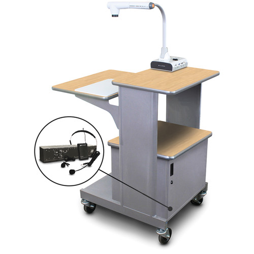 Marvel Vizion Benchmark Mobile Presentation Cart with Steel Door and AmpliVox Headset Microphone (Kensington Maple Laminate)