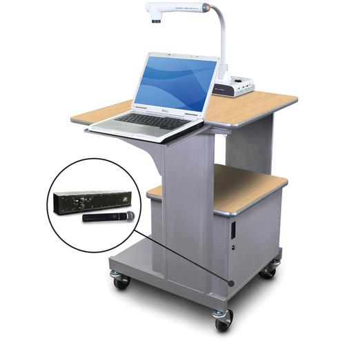 Marvel Vizion Benchmark Mobile Presentation Cart with Steel Door, Laptop Shelf, and AmpliVox Handheld Microphone (Kensington Maple Laminate)