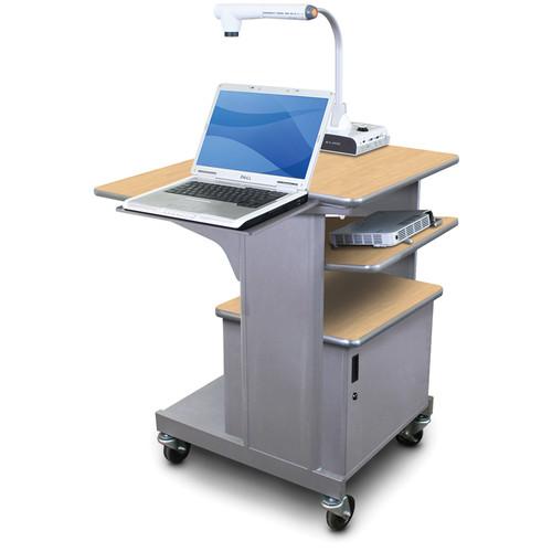 Marvel Vizion Benchmark Mobile Presentation Cart with Steel Door, Laptop Shelf, and Tilting Shelf (Kensington Maple Laminate)