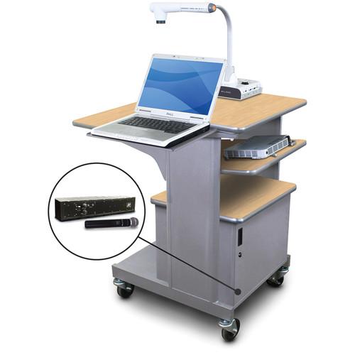 Marvel Vizion Benchmark Mobile Presentation Cart with Steel Door, Laptop & Tilting Shelves, and AmpliVox Handheld Microphone (Kensington Maple Laminate)