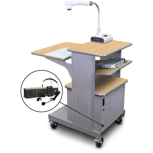 Marvel Vizion Benchmark Mobile Presentation Cart with Steel Door, Tilting Shelf, and AmpliVox Headset Microphone (Kensington Maple Laminate)