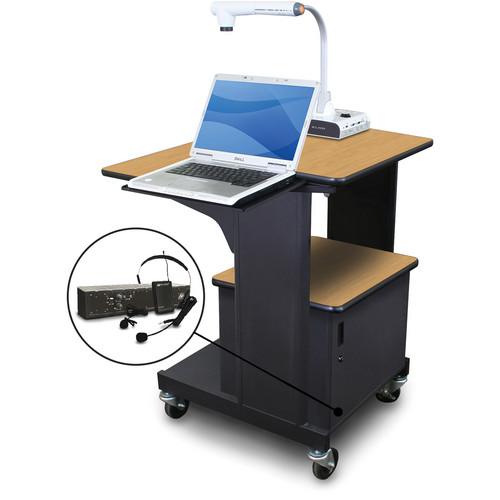 Marvel Vizion Benchmark Mobile Presentation Cart with Steel Door, Laptop Shelf, and AmpliVox Headset Microphone (Oak Laminate)