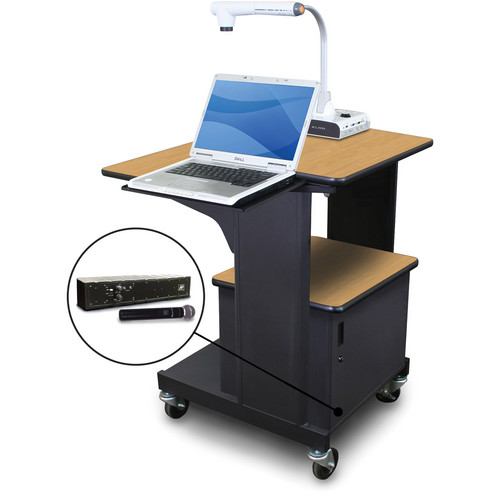 Marvel Vizion Benchmark Mobile Presentation Cart with Steel Door, Laptop Shelf, and AmpliVox Handheld Microphone (Oak Laminate)