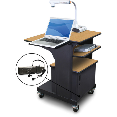 Marvel Vizion Benchmark Mobile Presentation Cart with Steel Door, Laptop & Tilting Shelves, and AmpliVox Headset Microphone (Oak Laminate)
