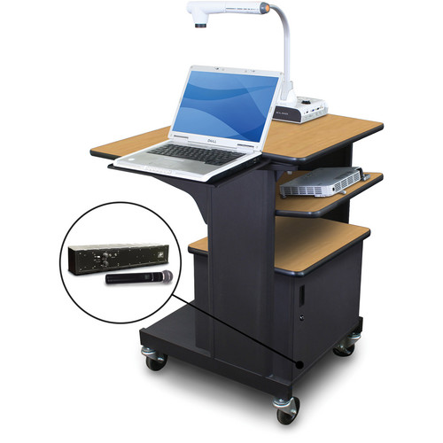 Marvel Vizion Benchmark Mobile Presentation Cart with Steel Door, Laptop & Tilting Shelves, and AmpliVox Handheld Microphone (Oak Laminate)