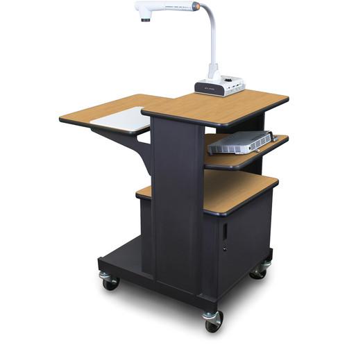 Marvel Vizion Benchmark Mobile Presentation Cart with Steel Door and Tilting Shelf (Oak Laminate)