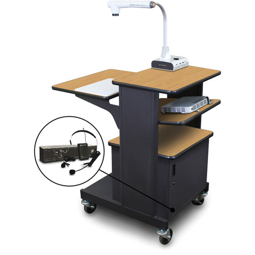 Marvel Vizion Benchmark Mobile Presentation Cart with Steel Door, Tilting Shelf, and AmpliVox Headset Microphone (Oak Laminate)