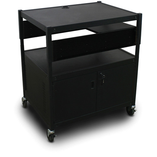 Marvel Spartan Series MVBACE2432-01 Adjustable Media Projector Cart with Cabinet, 1 Pull-Out Side Shelf (Black)