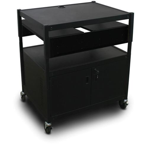Marvel Spartan Series MVBACE2432-02 Adjustable Media Projector Cart with Cabinet, 2 Pull-Out Side Shelves (Black)