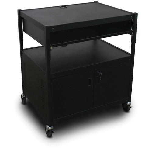 Marvel Spartan Series MVBACE2432-10 Adjustable Media Projector Cart with Cabinet, 1 Pull-Out Front Shelf (Black)