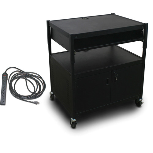 Marvel Spartan Series MVBACE2432-10E Adjustable Media Projector Cart with Cabinet, 1 Pull-Out Front Shelf & UL Listed 8-Outlet Electrical Unit (Black)
