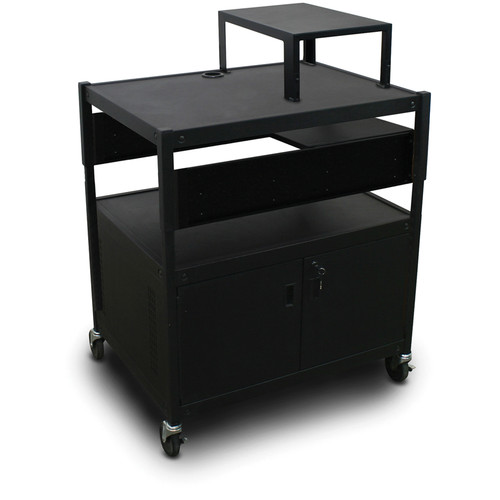 Marvel Spartan Series MVBACS2432-01 Adjustable Media Projector Cart with Cabinet, Expansion Shelf, and 1 Pull-Out Side Shelf (Black)