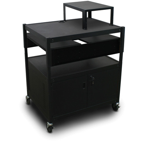Marvel Spartan Series MVBACS2432-02 Adjustable Media Projector Cart with Cabinet, Expansion Shelf, and 2 Pull-Out Side Shelves (Black)