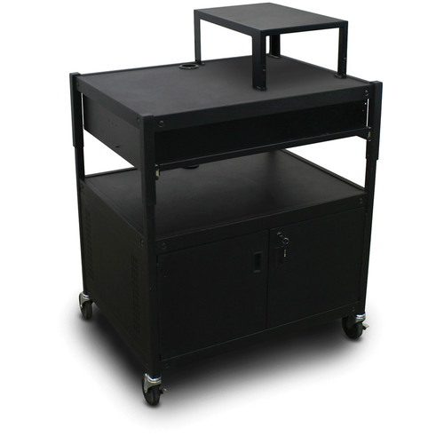 Marvel Spartan Series MVBACS2432-10 Adjustable Media Projector Cart with Cabinet, Expansion Shelf, and 1 Pull-Out Front Shelf (Black)