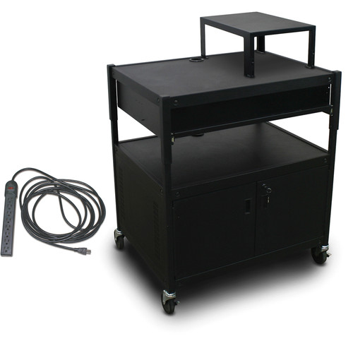 Marvel Spartan Series MVBACS2432-10E Adjustable Media Projector Cart with Cabinet, Expansion Shelf, 1 Pull-Out Front Shelf, and Electrical Cord (Black)