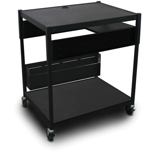 Marvel Spartan Series MVBAEE2432-01 Adjustable Media Projector Cart with 1 Pull-Out Side Shelf (Black)